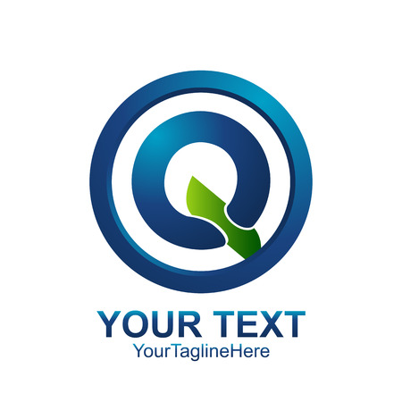 Initial letter Q logo template colored blue green circle design for business and company identity