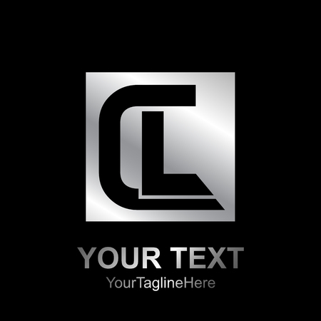 Initial letter CL logo design template element colored silver black square for business and company identity Logó