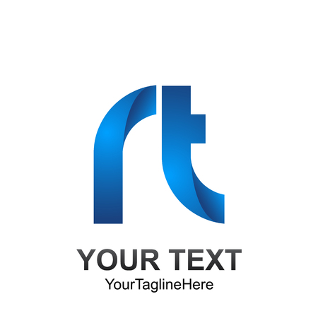 Initial letter RT logo template colored blue design for business and company identity