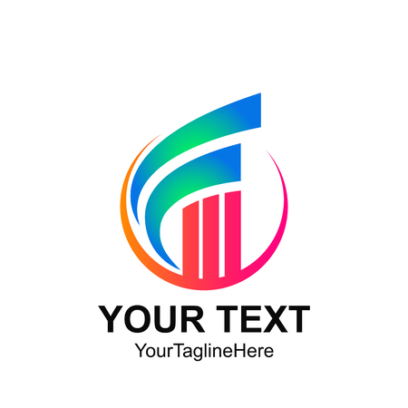 Initial letter F logo template colorfull circle swoosh stick graph chart design for business and company identity 免版税图像 - 105935553