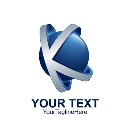 Modèle de lettre initiale K logo couleur bleu cercle gris conception de sphère pour l'identité d'entreprise et de l'entreprise