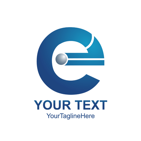 Initial letter E logo template colored blue design for business and company identity