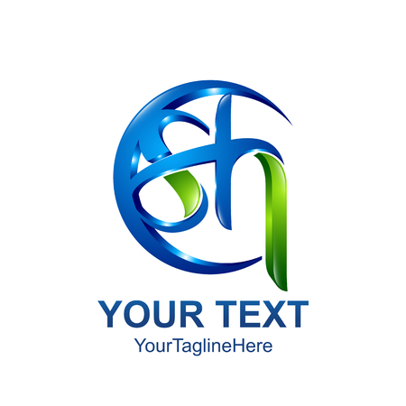 Initial letter SH logo template colored blue green circle swoosh design for business and company identity