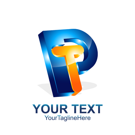 Initial letter PT or TP logo template colored orange blue 3d design for business and company identity Logó