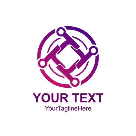 Creative abstract circle tech rotate vector logo design template element. Colored purple concept icon Ilustração