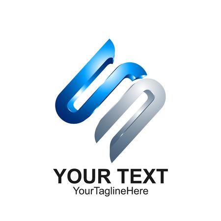 Letter S logo ontwerpsjabloon gekleurd zilver blauw 3D-ontwerp voor de identiteit van het bedrijf en bedrijf. Abstract eerste S alfabet logo-element.