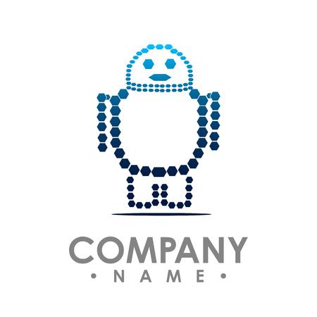 Robot vector logo. Simple illustration of robot brain vector logo for web Logo