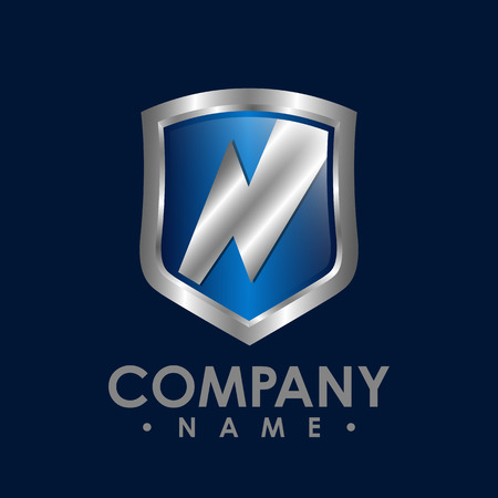 Flash lightning logo template, badge with lightning symbol, design element with shield for company identity vector Illustration
