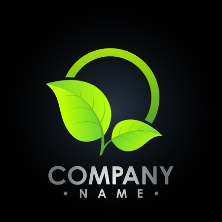Eco logo with leaf symbol, colored test tube with fresh green leaf logo, bio Eco logo vector 矢量图像