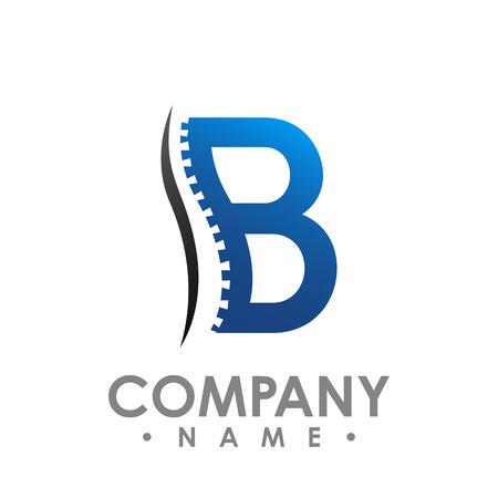 Plantilla de diseño de logo de vector abstracto quiropráctica letra B Medicina quiropráctica, Diseño sanitario