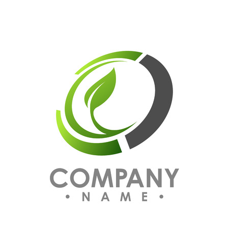 Nature logo for health company icon concept. Circle leaf logo concept design. Creative circle logo concept design. Vector illustration Ilustração