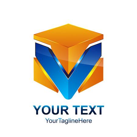 Modèle de lettre initiale V logo design de boîte de cube bleu orang coloré pour identité d'entreprise et d'entreprise Logo