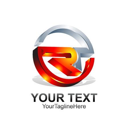 Initial letter Ror RT logo template colored orange grey design for business and company identity