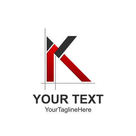 Initial letter K logo design template element colored red black architectural style for business and company identity