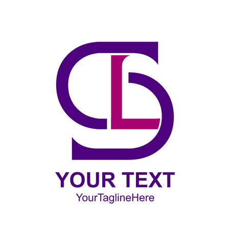 Initial letter SL or LS logo design template element colored purple for business and company identity