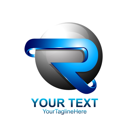 Initial letter R logo template colored blue circle sphere design for business and company identity