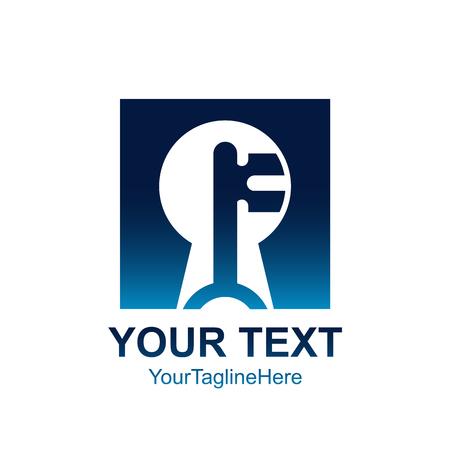Modèle de lettre initiale F logo design de trou de clé carré bleu de couleur pour l'identité d'entreprise et d'entreprise