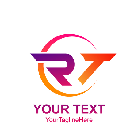 Initial letter RT logo template colorfull circle swoosh design for business and company identity