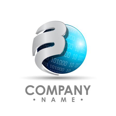 Colourful letter b logo vector template. Letter b logo for technology.