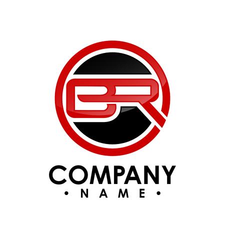 Letra BR con plantilla de ilustración de vector de diseño de logotipo de forma de círculo, vector de logotipo de letra B, vector de logotipo de letra B y R, logotipo de letra de letra BR Logos