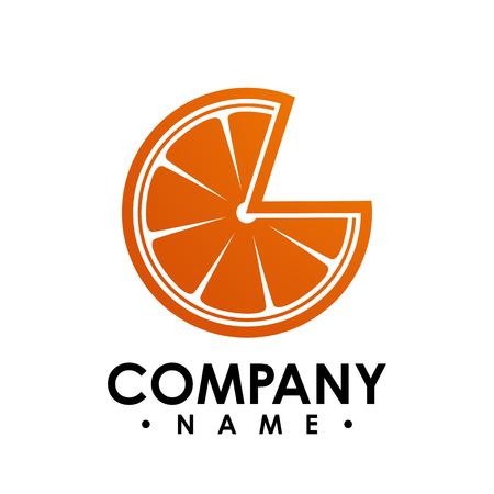 a quarter of orange fruit vector illustration. Simple vector flat illustration of orange Ilustrace