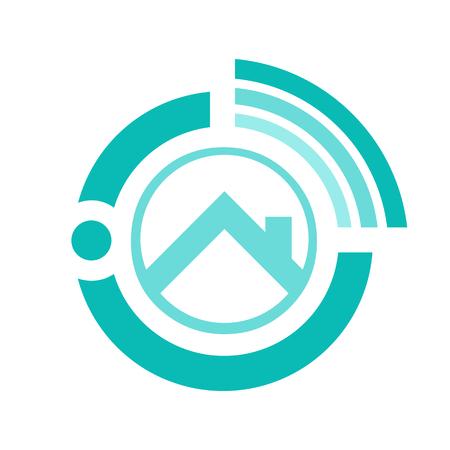 Diseño vectorial de logotipo de bienes raíces en línea.