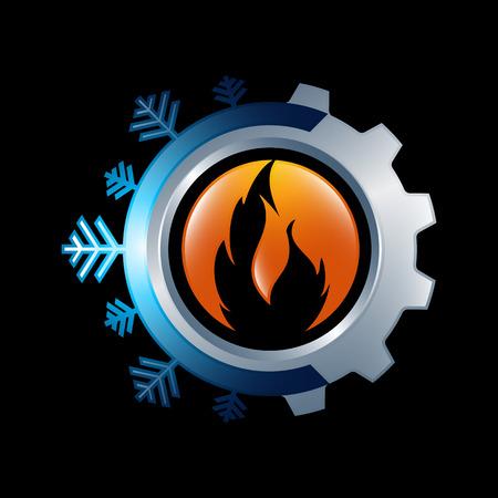 Sneeuwvlok en zonnesymbool voor airconditioning en ventilatie