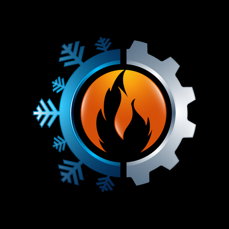 Hot and cool with gear color logo vector design