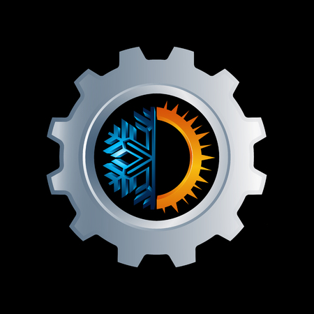 gear Hot and cold round sign logo. Temperature balance icon. Sun and snowflake line style symbols with red and blue parts of circle. Climate weather logo