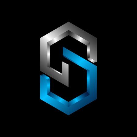 CS 3D letter logo design vector illustration template, C letter logo vector, letter C and S logo vector, creative Letter CS letter logo