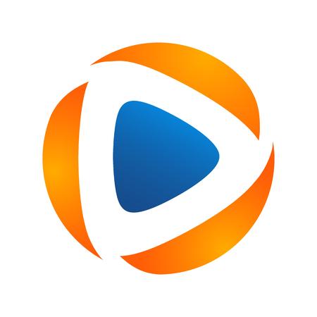 Media play logo vector simple modern concept ,Media logo sign,Play logo icon,Player logo icon. Multimedia logo icon, arrow circle logo Çizim