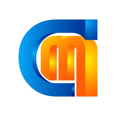 Letters CM, C&M logo, multi colour letters icon vector template Logó