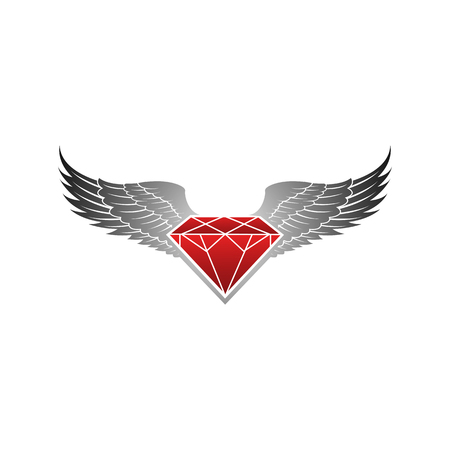 Red winged with grey diamond vector illustration