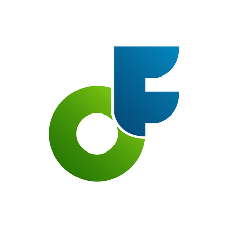 initial letter DF logo vector with blue green color  イラスト・ベクター素材