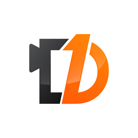 Number one and letter d in black orange color vector