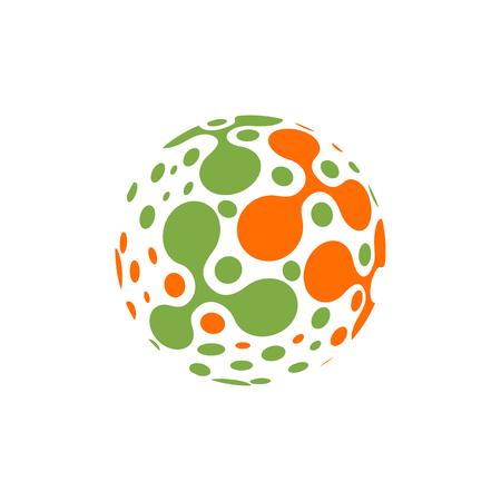 Progettazione astratta delle molecole della sfera. Illustrazione vettoriale. Gruppo di atomi per il concetto di chimica