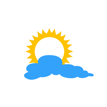 Sun and cloud flat icon isolated on blue background. Sun and cloud sign symbol in flat style. Weather forecast element Banco de Imagens - 126854239