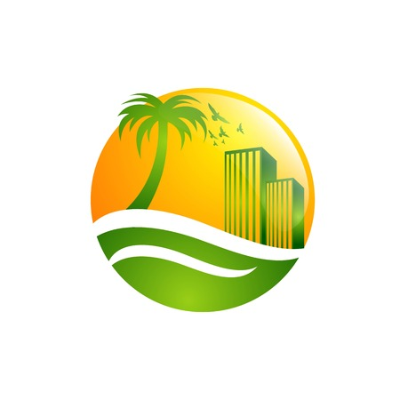 It is suitable for design logo property, real estate, villa, architecture, beach, building, business, concept, 일러스트