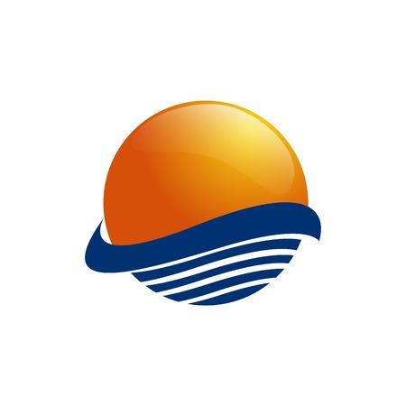 Sun over sea waves. Sun and sea. Sun logo icon isolated on white background. Editable vector illustration