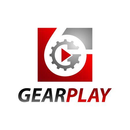 Square inside number six gear media play logo concept design template Illustration