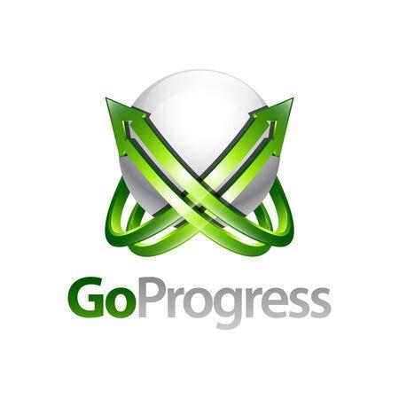Go progress sphere arrow up logo concept design template idea in Three-dimensional style Banco de Imagens - 143647049