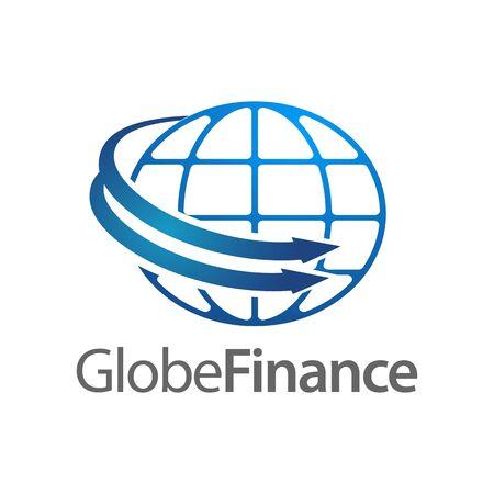 Global Finance in globe rotate arrow logo concept design template idea Banco de Imagens - 143647055