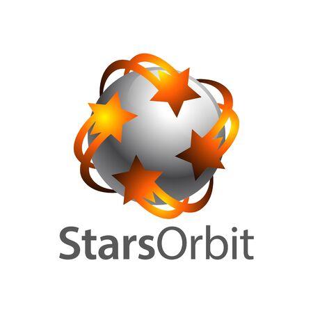 Stars orbit on grey sphere inside logo concept design template idea Banco de Imagens - 143647063