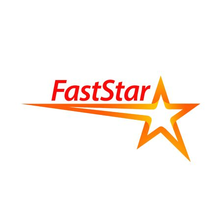 Fast star shape logo concept design template idea in orange color Banco de Imagens - 143647068