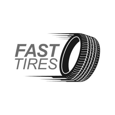 Illustration fast tires in black color logo concept design template idea Banco de Imagens - 143647070