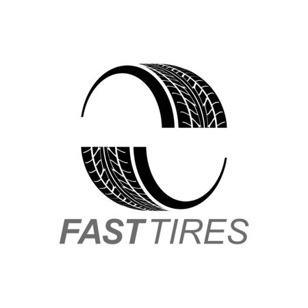 Illustration fast tires in black color logo concept design template idea Banco de Imagens - 143647069