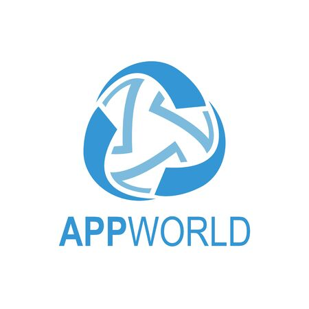 Abstract rotate app world Media globe logo template vector illustration. Blue color