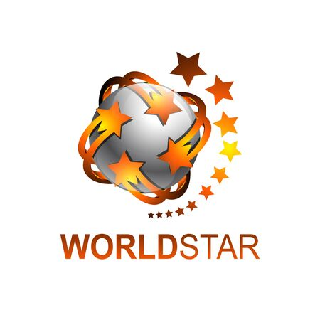 Sphere rotate world star logo template vector illustration. Grey orange color