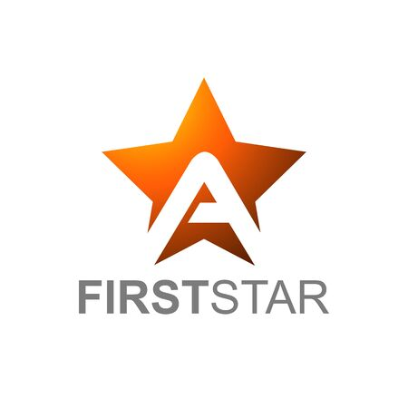Orange Star Logo With Letter A with first star text in white Background