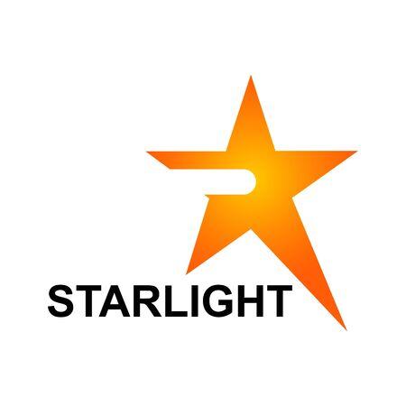Starlight logo template in orange star concept. Vector Illustration Banco de Imagens - 143647192